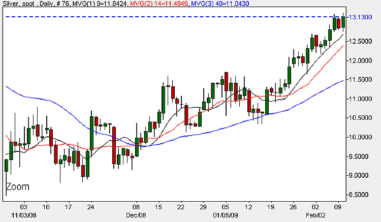 Spot Silver Prices - Daily Candle Chart 11th February 2009