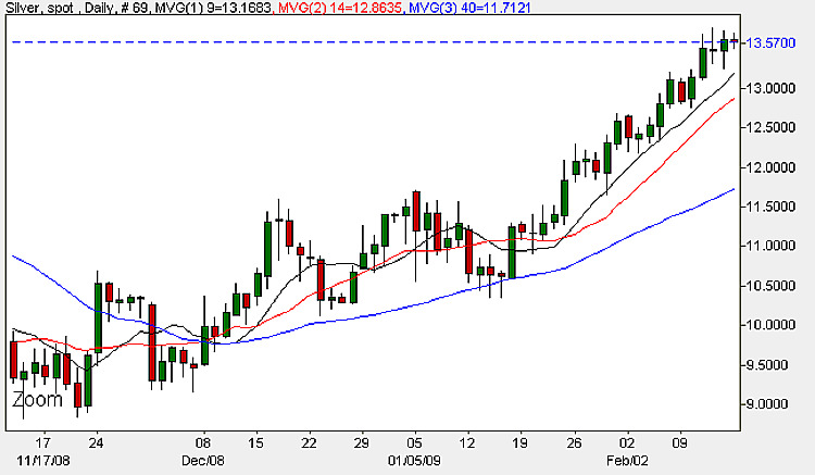 Spot Silver Prices - Daily Chart 17th February 2009