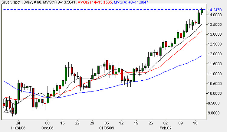 Spot Silver Prices - Daily Candle Chart 18th February 2009
