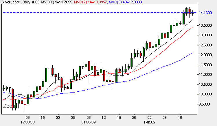 Spot Silver - Daily Candle Chart 20th February 2009