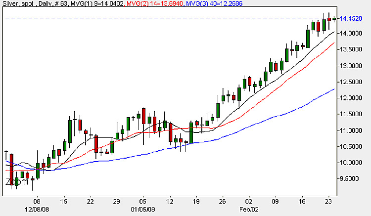 Silver Prices Daily Candle Chart - 24th February 2009
