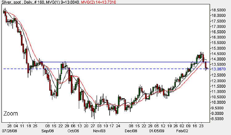 Spot Silver Prices - Daily Candle Chart 27th February 2009