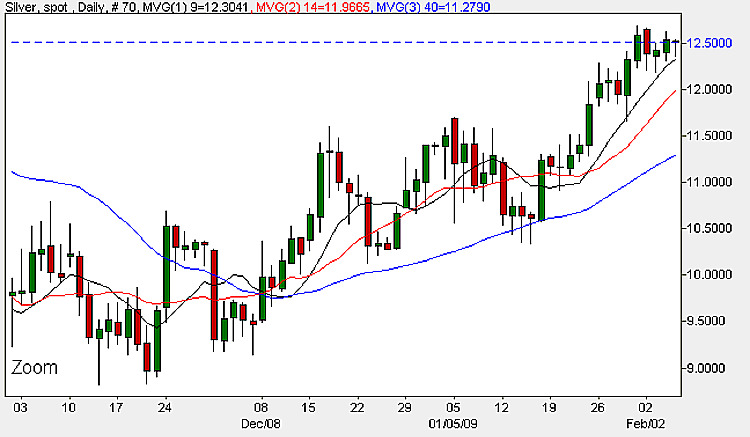Spot Silver Daily Candle Chart - 5th February 2009