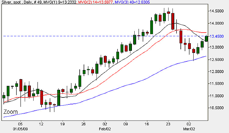 Spot Silver Prices - Daily Candle Chart 6th March 2009